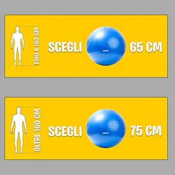 LETWY Palla Fitness | 65cm Blu | Nuova Versione 2020 con Poster Esercizi-Ginnastica, Fitball Fit Balls, Gymball Pilates, Yoga, Gravidanza, Attrezzi Palestra Casa - 3