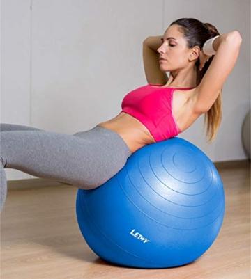 LETWY Palla Fitness | 65cm Blu | Nuova Versione 2020 con Poster Esercizi-Ginnastica, Fitball Fit Balls, Gymball Pilates, Yoga, Gravidanza, Attrezzi Palestra Casa - 4