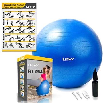 LETWY Palla Fitness | 65cm Blu | Nuova Versione 2020 con Poster Esercizi-Ginnastica, Fitball Fit Balls, Gymball Pilates, Yoga, Gravidanza, Attrezzi Palestra Casa - 1