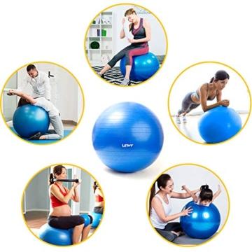 LETWY Palla Fitness | 65cm Blu | Nuova Versione 2020 con Poster Esercizi-Ginnastica, Fitball Fit Balls, Gymball Pilates, Yoga, Gravidanza, Attrezzi Palestra Casa - 5