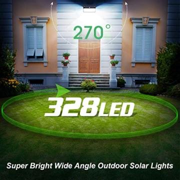 Luce Solare Led Esterno,328LED Lampada Solare【Aggiornato Versione Ultra Luminosa】Lampade Solari a Led da Esterno di Movimento 3 Modalità Luci Solari Impermeabile IP65 per Giardino -2 Pezzi - 2