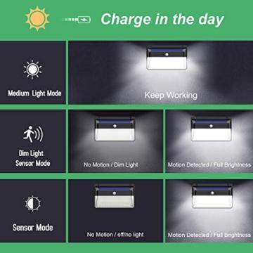 Luce Solare Led Esterno,328LED Lampada Solare【Aggiornato Versione Ultra Luminosa】Lampade Solari a Led da Esterno di Movimento 3 Modalità Luci Solari Impermeabile IP65 per Giardino -2 Pezzi - 5