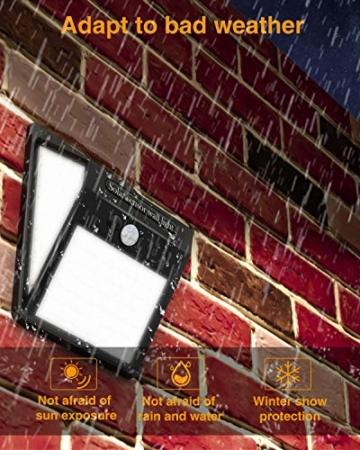 Luce Solare LED Esterno,litogo[2 Pezzi]140LED Luci Solari Lampade Faretti Solari a LED da Esterno Sensore di Movimento IP65 Impermeabile 3 Modalità per Giardino Parete Wireless Risparmio Energetico - 4