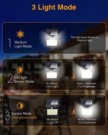 Luce Solare LED Esterno,litogo[2 Pezzi]140LED Luci Solari Lampade Faretti Solari a LED da Esterno Sensore di Movimento IP65 Impermeabile 3 Modalità per Giardino Parete Wireless Risparmio Energetico - 5