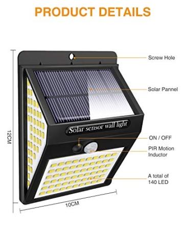 Luce Solare LED Esterno,litogo[2 Pezzi]140LED Luci Solari Lampade Faretti Solari a LED da Esterno Sensore di Movimento IP65 Impermeabile 3 Modalità per Giardino Parete Wireless Risparmio Energetico - 6