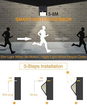 Luce Solare LED Esterno,litogo[2 Pezzi]140LED Luci Solari Lampade Faretti Solari a LED da Esterno Sensore di Movimento IP65 Impermeabile 3 Modalità per Giardino Parete Wireless Risparmio Energetico - 7