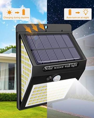 Luce Solare LED Esterno,litogo[2 Pezzi]140LED Luci Solari Lampade Faretti Solari a LED da Esterno Sensore di Movimento IP65 Impermeabile 3 Modalità per Giardino Parete Wireless Risparmio Energetico - 8