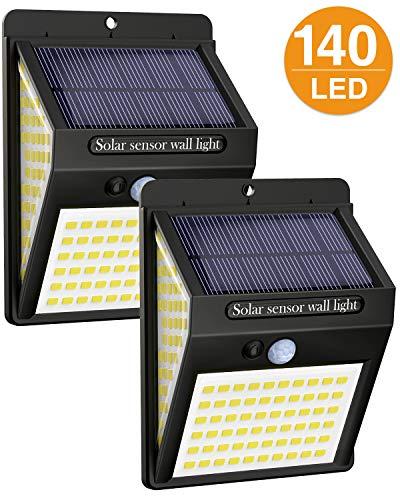 Luce Solare LED Esterno,litogo[2 Pezzi]140LED Luci Solari Lampade Faretti Solari a LED da Esterno Sensore di Movimento IP65 Impermeabile 3 Modalità per Giardino Parete Wireless Risparmio Energetico - 1