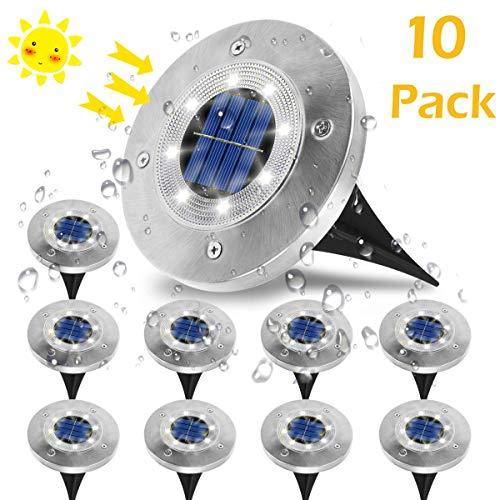 Luci Solari Giardino, VIFLYKOO Lampade da Giardino Solari 8LED Luci Led Solari da Esterno IP65 Impermeabile Luci Bianche per Esterno,Scala,Prato,Strade,Vialetto - 10 Pezzi - 1