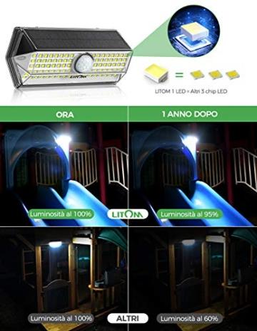 Luci Solari per Giardino, [4 Modalità 4 Pezzi]LITOM Versione Aggiornata luce solare led esterno IP67 impermeabile,Parete Wireless Risparmio Energetico[Classe di efficienza energetica A+++] - 2