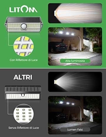 Luci Solari per Giardino, [4 Modalità 4 Pezzi]LITOM Versione Aggiornata luce solare led esterno IP67 impermeabile,Parete Wireless Risparmio Energetico[Classe di efficienza energetica A+++] - 4