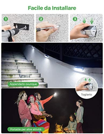 Luci Solari per Giardino, [4 Modalità 4 Pezzi]LITOM Versione Aggiornata luce solare led esterno IP67 impermeabile,Parete Wireless Risparmio Energetico[Classe di efficienza energetica A+++] - 5