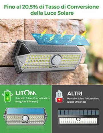Luci Solari per Giardino, [4 Modalità 4 Pezzi]LITOM Versione Aggiornata luce solare led esterno IP67 impermeabile,Parete Wireless Risparmio Energetico[Classe di efficienza energetica A+++] - 6