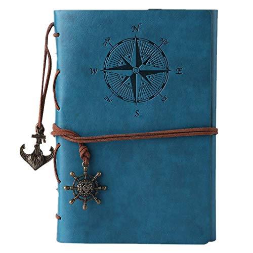 Maleden, diario di viaggio in pelle ad anelli, motivo bussola e ciondolo sul retro Sky Blue - 1