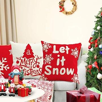 MMTX 4 Pezzi Natale Fodere per Cuscini, Pupazzo di Neve Invernale Babbo Natale Cuscini Decorativi per la casa per Fodere per Cuscini Decorativi Divano Cuscino Natalizio Fodere per Cuscino per Divano - 2