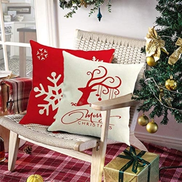 MMTX 4 Pezzi Natale Fodere per Cuscini, Pupazzo di Neve Invernale Babbo Natale Cuscini Decorativi per la casa per Fodere per Cuscini Decorativi Divano Cuscino Natalizio Fodere per Cuscino per Divano - 3