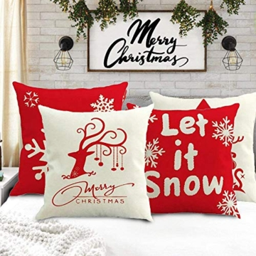 MMTX 4 Pezzi Natale Fodere per Cuscini, Pupazzo di Neve Invernale Babbo Natale Cuscini Decorativi per la casa per Fodere per Cuscini Decorativi Divano Cuscino Natalizio Fodere per Cuscino per Divano - 4