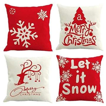 MMTX 4 Pezzi Natale Fodere per Cuscini, Pupazzo di Neve Invernale Babbo Natale Cuscini Decorativi per la casa per Fodere per Cuscini Decorativi Divano Cuscino Natalizio Fodere per Cuscino per Divano - 1