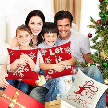 MMTX 4 Pezzi Natale Fodere per Cuscini, Pupazzo di Neve Invernale Babbo Natale Cuscini Decorativi per la casa per Fodere per Cuscini Decorativi Divano Cuscino Natalizio Fodere per Cuscino per Divano - 5