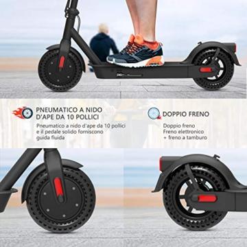 Monopattino Elettrico Scooter Pieghevole per Adulto velocità Massima 25km/h 350W, 40-45 Km di Autonomia, Pneumatico a Prova di Esplosione da 10 Pollici - 2