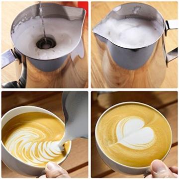 Montalatte Elettrico Schiumatore, testina del frullino a doppia molla USB Ricaricabile 3 Velocità frullino montalatte elettrico con 16 pezzi Stencil d'arteper latte/caffè/Cappuccinatore(Nero) - 4