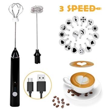 Montalatte Elettrico Schiumatore, testina del frullino a doppia molla USB Ricaricabile 3 Velocità frullino montalatte elettrico con 16 pezzi Stencil d'arteper latte/caffè/Cappuccinatore(Nero) - 1