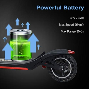MOTORAUX Monopattino Elettrico per Adulto velocità Massima 25km/h 350W Pneumatico a Prova di Esplosione - 5