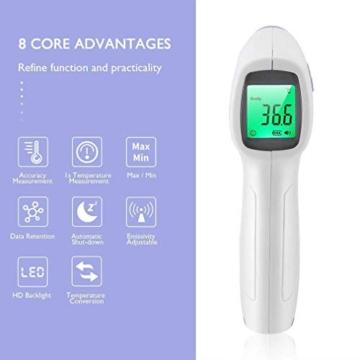 ROXTAK Termometro Frontale, Letture istantanee Accurate, Termometro Digitale a infrarossi Professionale Senza Contatto, per Neonati, Bambini, Adulti - 3