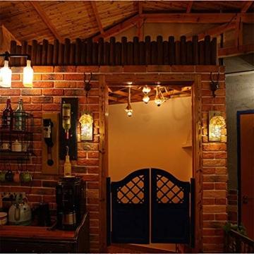 Ruiuzi 2 pezzi di applique da parete Mason jar Rustico, arredamento rustico in legno d'epoca, ganci in ferro battuto, ortensie di seta e luci a strisce LED design per la decorazione domestica (Beige) - 4