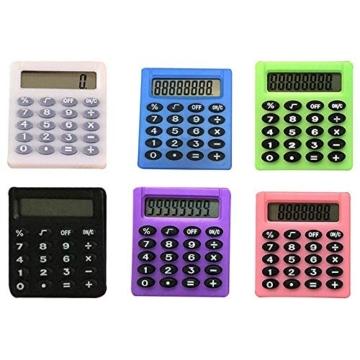 SUPERTOOL - Mini calcolatrice per studenti, elettrica, portatile, per scuola elementare, casa, ufficio, 50 x 45 x 8 mm - 2