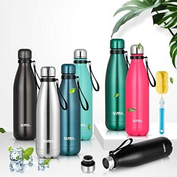 Umi. by Amazon - Borraccia Termica, 500 ml Bottiglia Acqua in Acciaio Inox, Senza BPA, 24 Ore Freddo & 12 Caldo, Borracce per Scuola, Sport, All'aperto, Palestra, Yoga (Verde) - 2