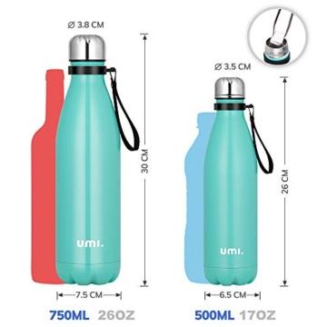 Umi. by Amazon - Borraccia Termica, 500 ml Bottiglia Acqua in Acciaio Inox, Senza BPA, 24 Ore Freddo & 12 Caldo, Borracce per Scuola, Sport, All'aperto, Palestra, Yoga (Verde) - 4