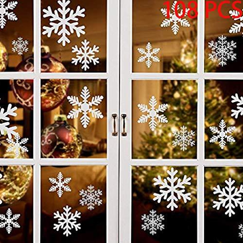 108 PZ Natale Adesivi Finestre Finestra Decorazione Natale Rimovibile Natale Vetrofanie Adesivi Murali Fai da te Finestra Decorazione Vetrina Wallpaper fiocco di neve - 1