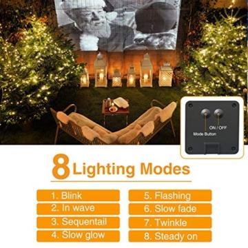 [2 Pacchi] Catena Luminosa Esterno Solare, Hepside 12m 120 LED Luci Solari Esterno 8 Modalità Impermeabile Filo di Rame Luci energia Solari Decorativa Per Giardino Patio Natale Festa, Bianco Caldo … - 6