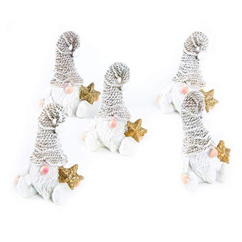 5 piccoli gnomi natalizi in oro bianco lucido, 5 cm, decorazione natalizia, give-away, mini regalo shabby chic per Natale, idea regalo - 1