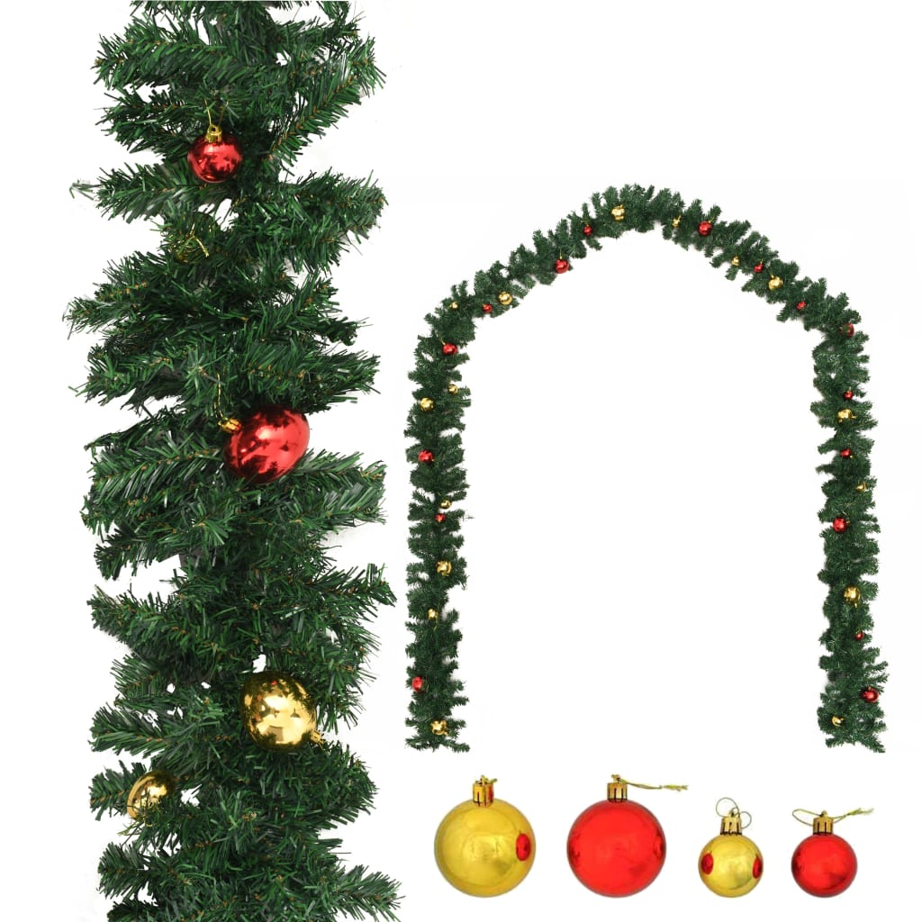 vidaXL Ghirlanda di Natale Decorata con Palline 10 m