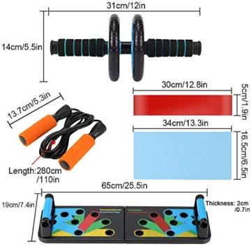 Aurorast Fitness Workout Set 4 Pezzi- Elastici Fitness | Push-up Board 13 in 1| AB Wheel Roller Addominali con Tappetino | Corda per Saltare, Attrezzi Palestra per casa - 2