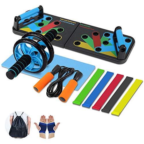 Aurorast Fitness Workout Set 4 Pezzi- Elastici Fitness | Push-up Board 13 in 1| AB Wheel Roller Addominali con Tappetino | Corda per Saltare, Attrezzi Palestra per casa - 1