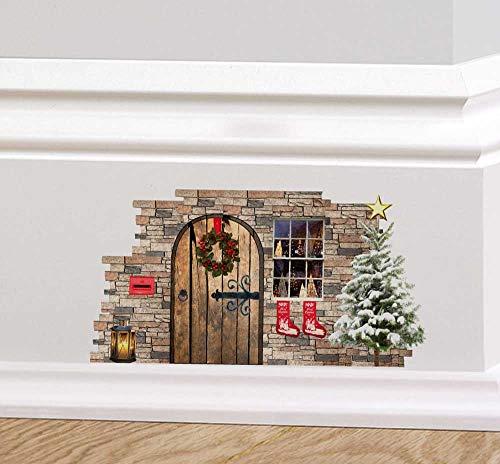 A PIENI colori fata di Natale folletto ELFO PORTA festività Adesivo da parete decalcomania Battiscopa DECORAZIONE NATALIZIA GHIRLANDA REGALI ALBERO DI NATALE - 1