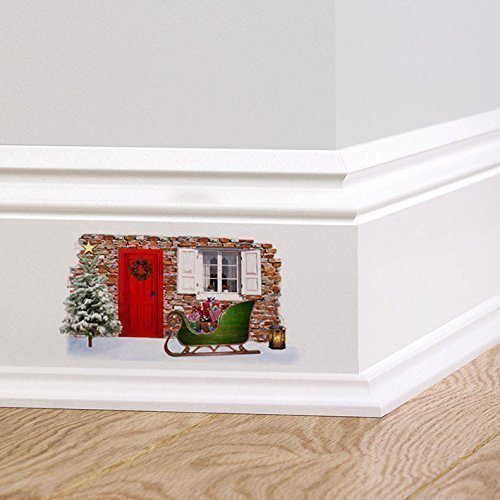 A PIENI colori fata di Natale Folletto Elfo Porta V2 festività Adesivo da parete decalcomania Battiscopa DECORAZIONE NATALIZIA GHIRLANDA REGALI ALBERO DI NATALE - 1