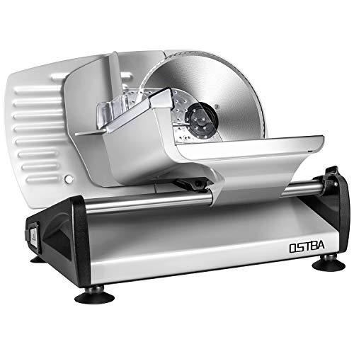 Affettatrice, affettatrice elettrica acciaio inossidabile, metallo, colore argento, spessore max 15 mm affettatrice universale, affettatrice professionale diametro 19cm, potenza 150 W - 1
