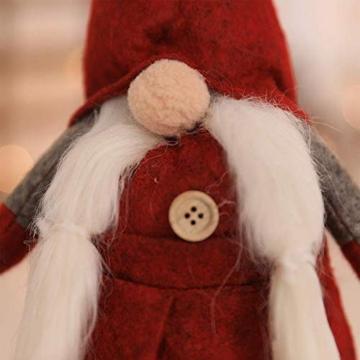 Amasawa Decorazione Natalizia Babbo Natale Bambola Cappello Lungo Senza Volto Stand Peluche Bambola Fatta a Mano Tavolo/Finestra Ornamenti/Decorazione Festa di Natale - 2