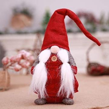 Amasawa Decorazione Natalizia Babbo Natale Bambola Cappello Lungo Senza Volto Stand Peluche Bambola Fatta a Mano Tavolo/Finestra Ornamenti/Decorazione Festa di Natale - 3