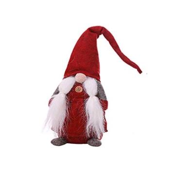 Amasawa Decorazione Natalizia Babbo Natale Bambola Cappello Lungo Senza Volto Stand Peluche Bambola Fatta a Mano Tavolo/Finestra Ornamenti/Decorazione Festa di Natale - 1