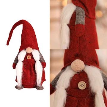 Amasawa Decorazione Natalizia Babbo Natale Bambola Cappello Lungo Senza Volto Stand Peluche Bambola Fatta a Mano Tavolo/Finestra Ornamenti/Decorazione Festa di Natale - 5