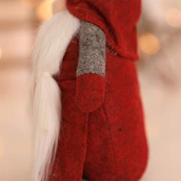 Amasawa Decorazione Natalizia Babbo Natale Bambola Cappello Lungo Senza Volto Stand Peluche Bambola Fatta a Mano Tavolo/Finestra Ornamenti/Decorazione Festa di Natale - 7