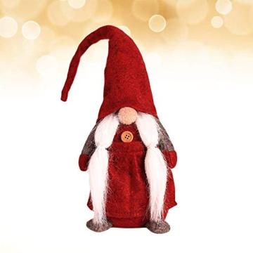 Amasawa Decorazione Natalizia Babbo Natale Bambola Cappello Lungo Senza Volto Stand Peluche Bambola Fatta a Mano Tavolo/Finestra Ornamenti/Decorazione Festa di Natale - 8