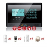 ANTIFURTO ALLARME TOUCH SCREEN CASA KIT COMBINATORE GSM WIRELESS SENZA FILI APP (Kit S - FP-2E-1000-NERO) - 1