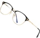 ATTCL Occhiali luce blu bloccanti per il blocco della cefalea UV [Anti Eyestrain] Occhiali Uomo Donna leggero 5054-oro nero - 1
