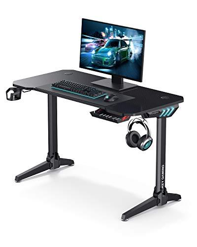AUKEY Scrivania da Gioco Gaming Desk, Tavolo Gaming Scrivania per PC da Ufficio, Illuminazione RGB, Portabicchieri per Cuffie e Gancio per Altoparlante, Gestione del Cablaggio - 114 x 60 x 73 cm - 1